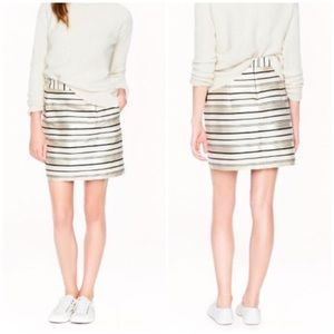 J CREW $138 Gold Black Stripe MINI Skirt Holiday
